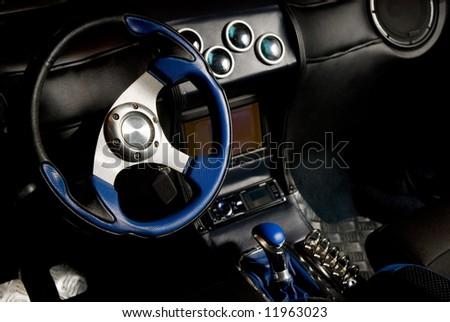 Tuned sport car interior - stock photo