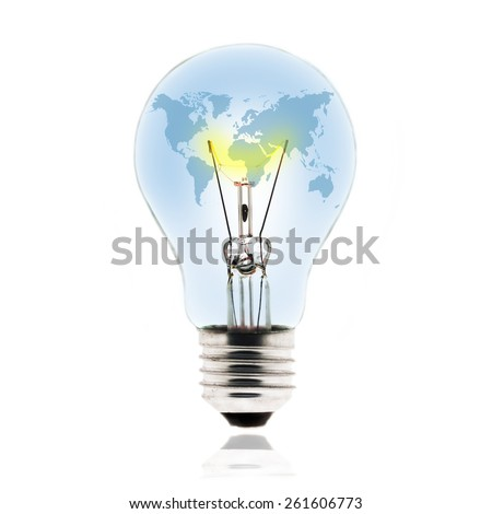 Tungsten light bulb with earth map inside - stock photo