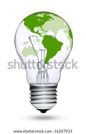 Tungsten light bulb with green earth map - stock photo