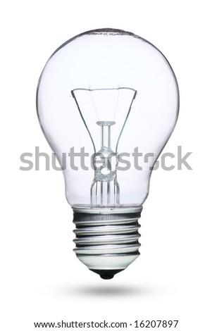 Tungsten lightbulb isolated over white background - stock photo