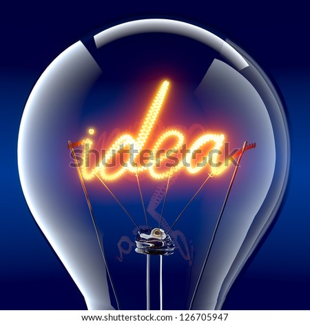 """Tungsten spiral in the form of the word """"idea"""" - a metaphor for creative energy, miraculously ignites inside a glass bulb - stock photo"""