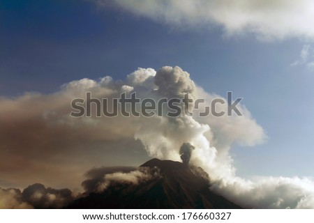 Tungurahua Volcano, Ecuador in eruption February 2014. - stock photo