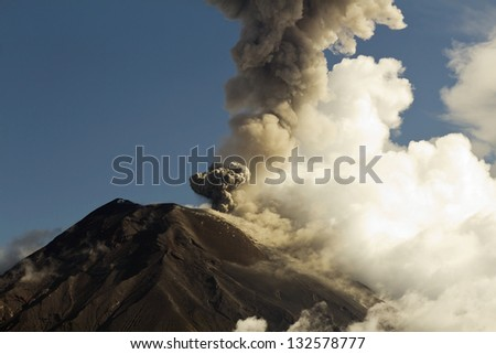 Tungurahua Volcano erupting, March 2013, Ecuador - stock photo