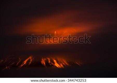 Tungurahua volcano explosion at night, Ecuador - stock photo