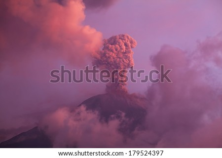 Tungurahua volcano explosion on february 2014 at sunset - stock photo