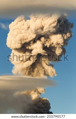 Tungurahua volcano in Ecuador, large mushroom cloud explosion - stock photo