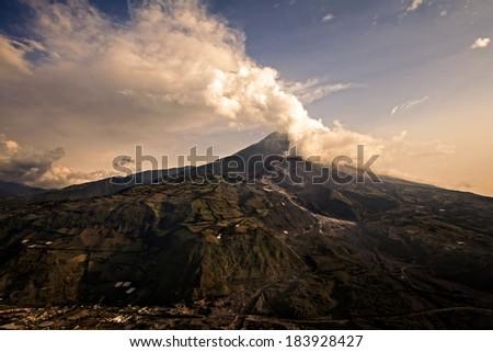 Tungurahua Volcano Powerful Explosion At Sunset, Ecuador, South America  - stock photo
