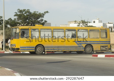 TUNIS, TUNISIA - MAY 29, 2015 : The iconic public bus in the Tunis. Tunisia,  May 29, 2015 - stock photo