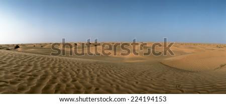 Tunisia, desert, panoramic view - stock photo