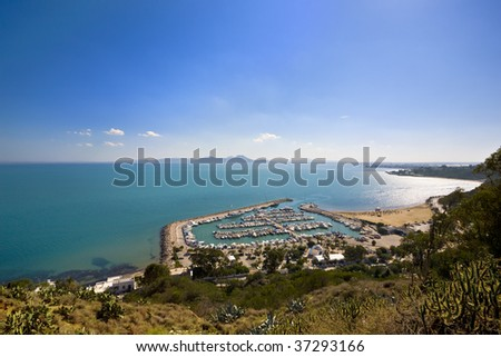 Tunisia. Sidi Bou Said - yacht harbour. There is breathtaking view from the top on the Gulf of Tunis - stock photo