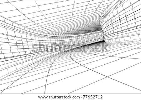 Tunnel - abstract architectural vector construction - stock photo