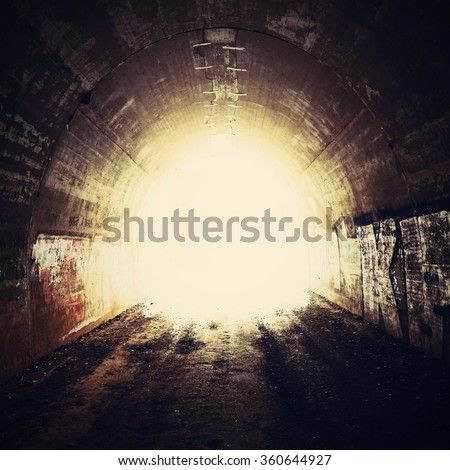 Tunnel and the light at the end - stock photo