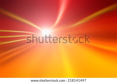 Tunnel bright orange red lights acceleration speed motion blur. Motion blur visualizies the speed and dynamics. - stock photo