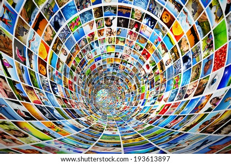 Tunnel of media, images, photographs. Tv, multimedia broadcast, streaming. All photos are mine. Concepts of television, adverstising, internet, entertainment. - stock photo