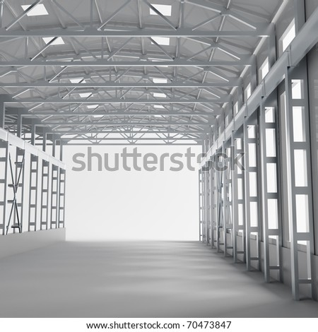 tunnel with metallic columns and light making the way ahead - stock photo