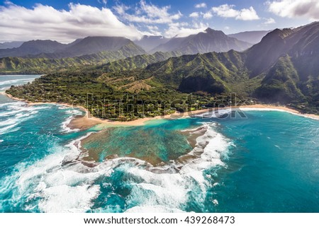 Tunnels beach from the helicopter on the scenic Island of Kauai, Hawaii - stock photo