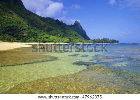 Tunnels Beach is one of the most popular locations in Hawaii to snorkel and skuba dive. Located on the north shore of Kauai. - stock photo