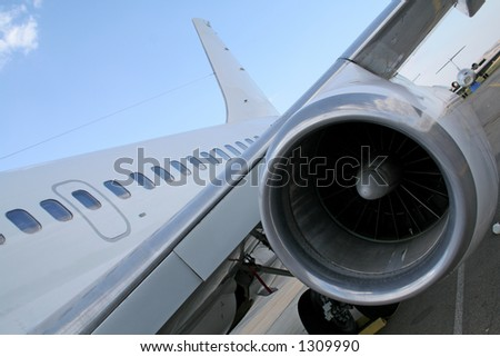Turbine engine of plane - stock photo
