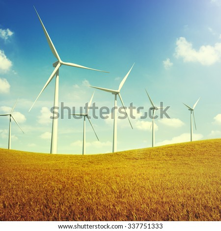 Turbine Green Energy Electricity Technology Concept - stock photo
