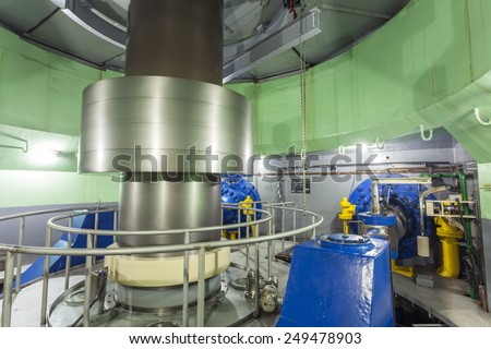Turbine in Hydroelectric Power Plant, Africa - stock photo