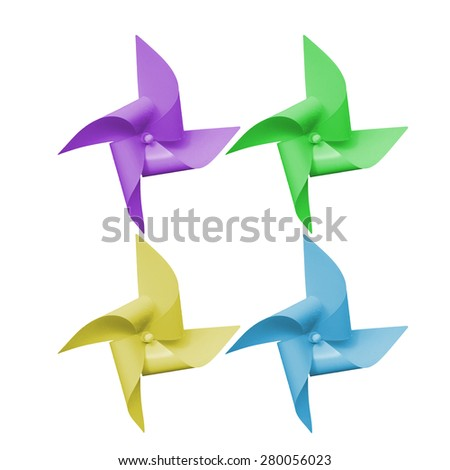 Turbine multicolored paper isolated on white background. This has clipping path. - stock photo