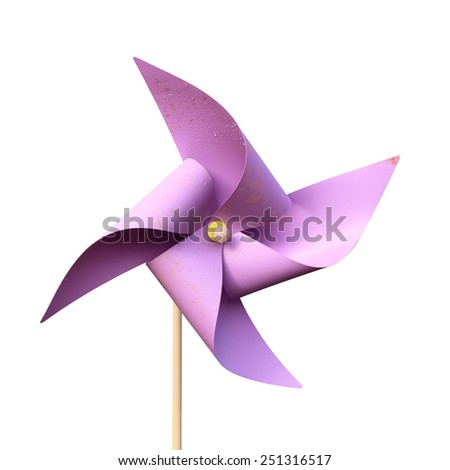 Turbine purple paper isolated on white background. This has clipping path. - stock photo