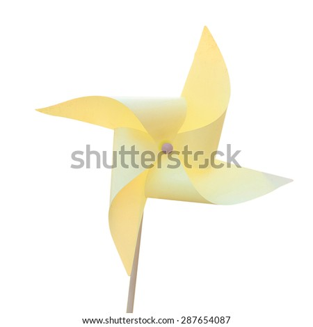 Turbine sky yellow paper isolated on white background. This has clipping path.  - stock photo