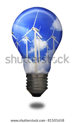 Turbine to produce electricity on blue sky in bulb - stock photo