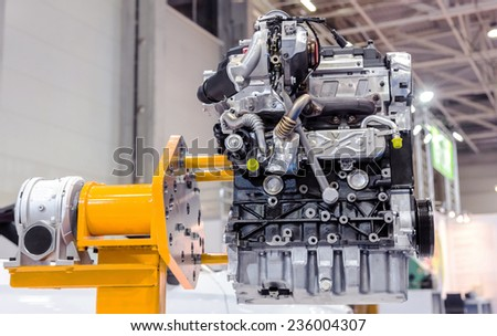 Turbo car engine close up - stock photo