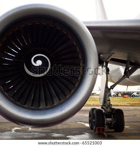 Turboprop aircraft engine closeup shot - stock photo