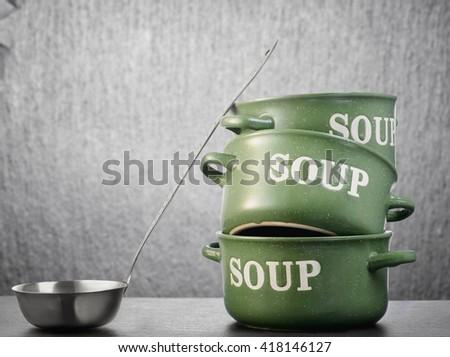 Tureen and ladle - stock photo