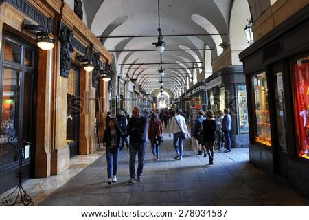 TURIN, ITALY - APRIL 18: arcades via Po, on April 18, 2015 in Turin, Italy - stock photo