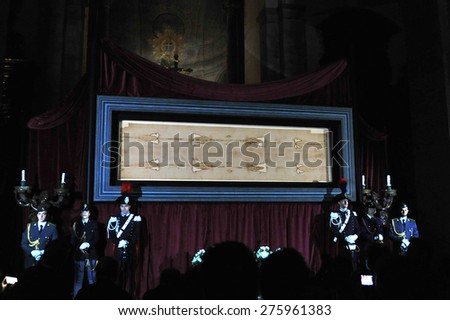 TURIN, ITALY - APRIL 18: Exposition of the Holy Shroud, on April 18, 2015 in Turin, Italy    - stock photo