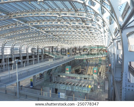 TURIN, ITALY - JANUARY 23, 2015: Passengers in the new Torino Porta Susa main railway and subway station - stock photo