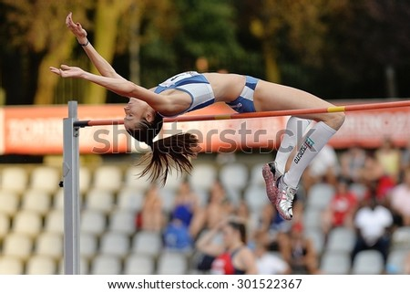 TURIN, ITALY - JULY 25: Lamera Raffaella perform high jump during Turin 2015 Italian Athletics Championships at the Primo Nebiolo Stadium on July 25, 2015 in Turin, Italy. - stock photo