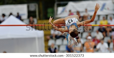 TURIN, ITALY - JULY 25: PAU Anna perform high jump during Turin 2015 Italian Athletics Championships at the Primo Nebiolo Stadium on July 25, 2015 in Turin, Italy. - stock photo