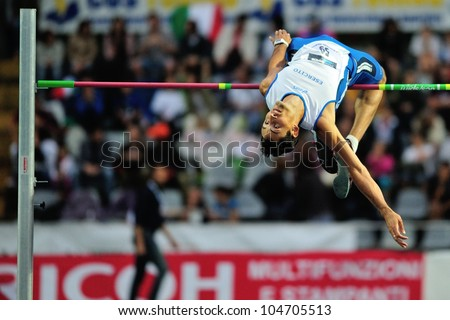 TURIN, ITALY - JUNE 08: Filippo Campioli ITA performs high jump during the International Track & Field meeting Memorial Nebiolo 2012 on June 08, 2012 in Turin, Italy. - stock photo