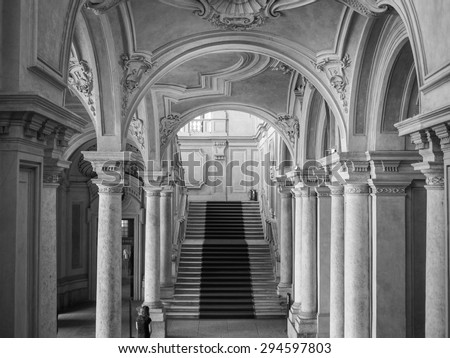 TURIN, ITALY - JUNE 19, 2015: Palazzo Madama Royal palace in Piazza Castello in black and white - stock photo
