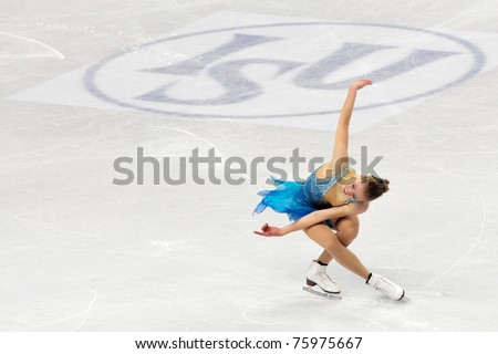 TURIN, ITALY - MARCH 26: Professional Finland skater Laura LEPISTO performs short program during the ISU 2010 World Figure Skating Championship on March 26, 2010 in Turin, Italy. - stock photo