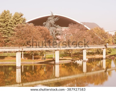 TURIN, ITALY - NOVEMBER 07, 2015: Ruins of Monorail built for the Italia 61 exhibition in 1961 for the centenary of Italian reunion vintage - stock photo