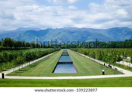 Turin, Italy - Reggia di Venaria Reale park and gardens - stock photo