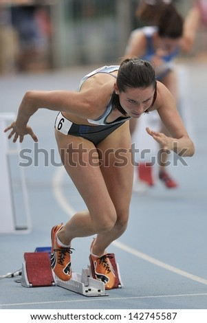 TURIN - JUNE 8:Bartonickova Jitkta from Czechoslovakia start for 400m women sprint race at XIX Turin International Track and Field meeting, Italy on 8th june 2013, in Turin, Italy. - stock photo