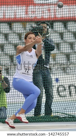 TURIN - JUNE 8: Silvia Salis from Italy performs Hammer Throw at XIX Turin International Track and Field meeting, Italy on 8th june 2013, in Turin, Italy. - stock photo