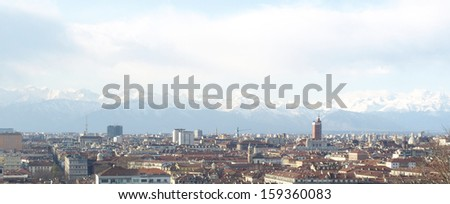 Turin panorama seen from the hill nearby - stock photo