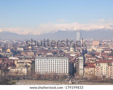 Turin skyline panorama seen from the hills surrounding the city - stock photo