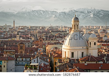 Turin (Torino), panorama with snowy Alps - stock photo