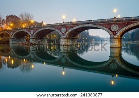 Turin (Torino), Ponte Isabella and river Po - stock photo