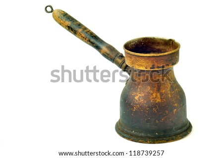 Turk to brew coffee on a white background close-up - stock photo