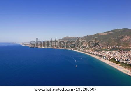 Turkey. Alanya cityscape. Cleopatra's beach - stock photo