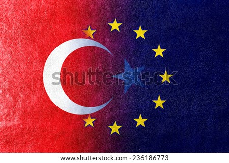 Turkey and European Union Flag painted on leather texture - stock photo